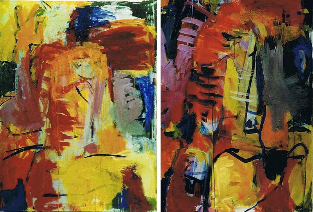 Diptychon, 2003, 120 x 180 cm, Acryl auf Leinwand