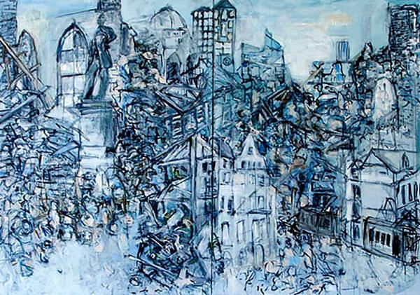 Essen 1945, 2016, 200 x 140 cm, Acryl auf Leinwand
