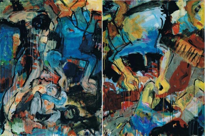 Kein Laut Nirgendwo 1, 2003, 120 x 180 cm, Diptychon, Acryl auf Leinwand