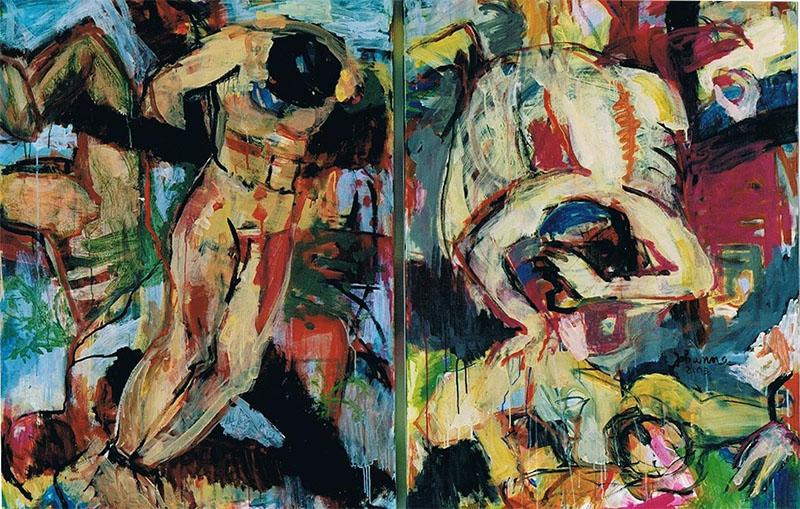 Kein Laut Nirgendwo 2, 2003, 120 x 180 cm, Diptychon, Acryl auf Leinwand