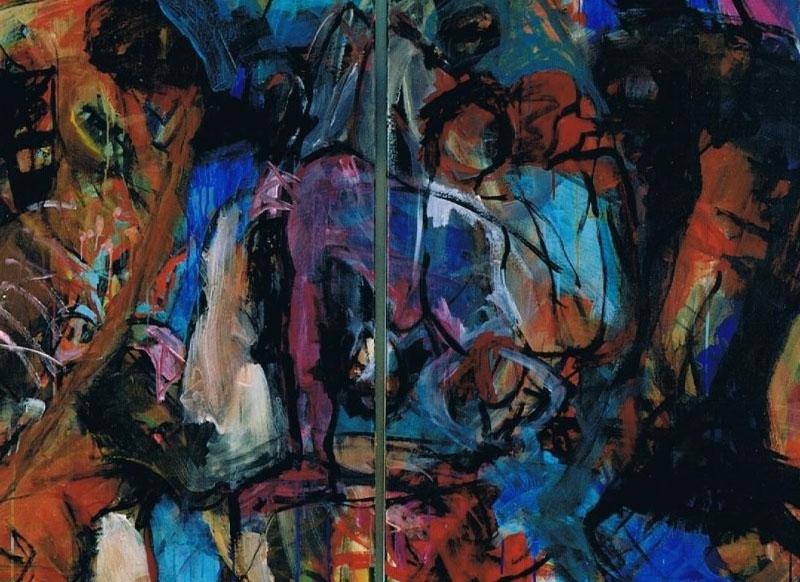Kein Laut Nirgendwo 3, 2004, 120 x 180 cm, Diptychon, Acryl auf Leinwand
