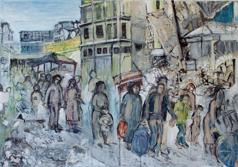 O. T., 2017, 140 x 200 cm, 2-teilig, Acryl auf Leinwand