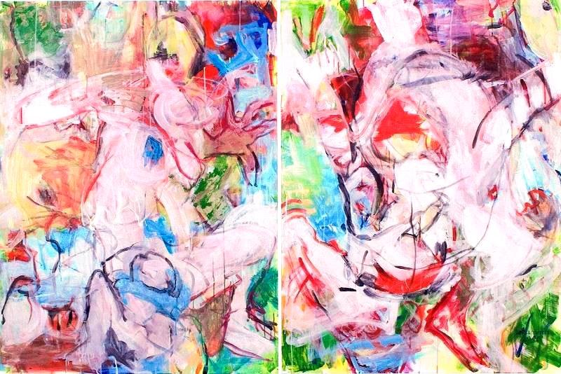 Tanz, 2006, Diptychon, je 120 cm x 180 cm, Acryl auf Leinwand