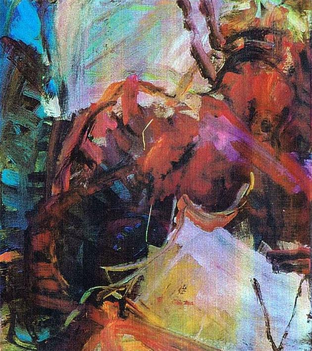 O. T., 2001, 120 x 106 cm, Acryl auf Leinwand