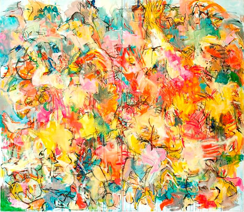 O.T. 1, 2009, 250 x 280 cm, zweiteilig, Acryl auf Leinwand