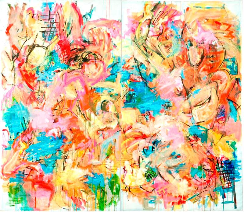 O.T. 2, 2009 , 250 cm x 280 cm, zweiteilig, Acryl auf Leinwand