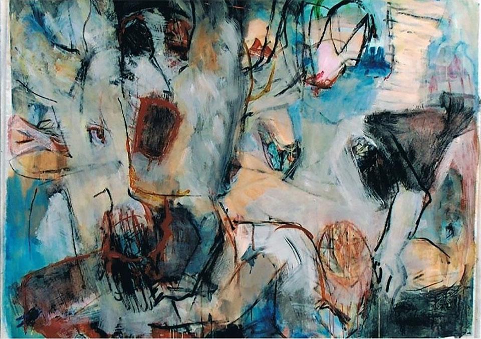 O.T., 2002, 100 x 160 cm, Mischtechnik auf Maltuch