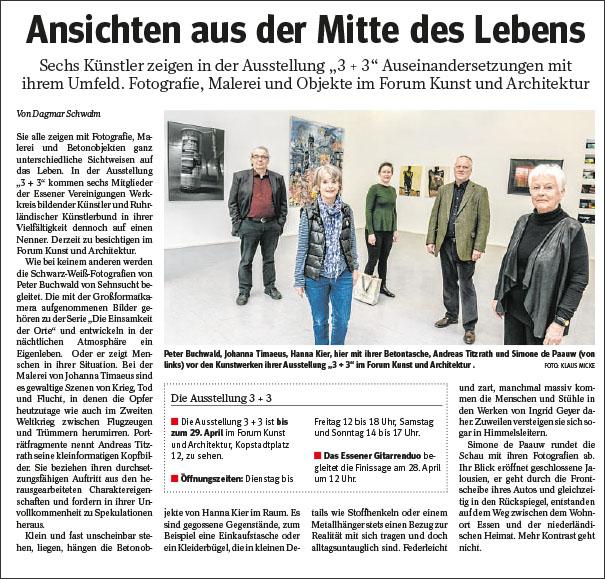 Bericht in der NRZ vom 4.4.2018 über die Ausstellung 3+3 im Forum Kunst und Architektur, Essen