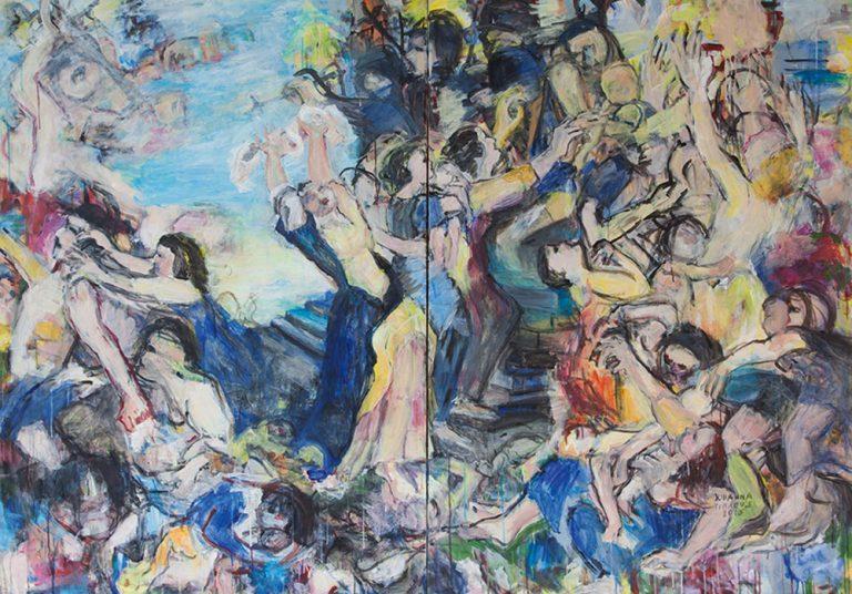 Betlehemitischer Kindermord nach Rubens, 2015, 140 x 200 cm, 2-teilig, Acryl auf Leinwand